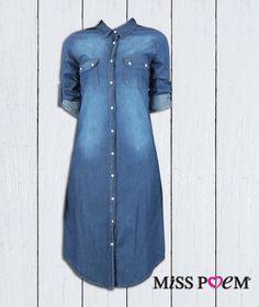 d2c5a230cb5b2 Yeni sezondan jean uzun gömlek ister elbise , istersen de gömlek olarak  kullan!