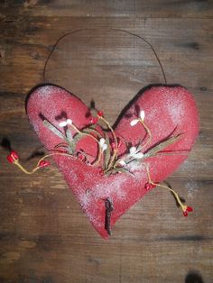Primitive Grungy Red Heart Pocket Hanger Door Greeter Valentine Handmade Gift  #NaivePrimitive #handmade