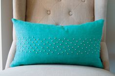 Dark Mint Stud Kidney Pillow Cover. $65.00, via Etsy.