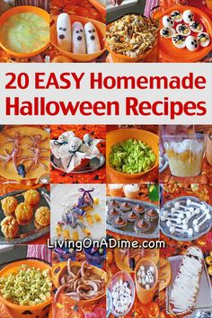 Here are 20 easy homemade halloween party food recipes and ideas to make your Halloween party more fun! You'll find sweet treats and healthier options!                                                                                                                                                                                 More