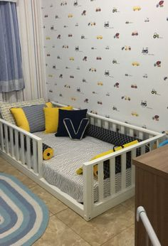 43 Creative Toddler Bedroom Design Ideas To Try Asap - Is it time for you to clear out your child's crib and design a bedroom centered around your toddler's interests? One of the best ways to do this is by. Toddler Floor Bed, Boy Toddler Bedroom, Toddler Rooms, Baby Bedroom, Baby Boy Rooms, Baby Room Decor, Nursery Room, Kids Bedroom, Toddler Beds For Boys