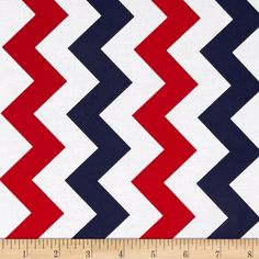 Riley Blake Medium Chevron Patriotic from @fabricdotcom  From the RBD Designers for Riley Blake Designs, this cotton print fabric is perfect for quilting, apparel and home décor accents. Chevron stripes run parallel to the selvage. Colors include white, red and navy blue.