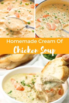 Homemade Cream of Chicken Soup - rich, creamy, thick and completely made from scratch soup. This cream of chicken soup starts with a roux and doesn't require cr Homemade Chicken Soup, Chicken Soup Recipes, Cream Of Chicken Soup, Creamy Chicken Soups, Creamy Cabbage Soup Recipe, Cream Of Leek Soup, Cream Of Turkey Soup, Crock Pot Soup Recipes, Instapot Soup Recipes