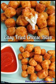 These delicious fried cheese balls are just like fried cheese sticks but cut into bite size appetizers Crunchy and gooey these are the answer to your easy snack ideas question If you re looking for string cheese recipes this is a fantastic one Fried Cheese Balls Recipe, Fried Cheese Sticks, Cheese Sticks Recipe, Cheese Ball Recipes, Baked Cheese Bites, Fried Mozzarella Balls Recipe, Cheese Ball Bites Recipe, Bite Size Snacks, Bite Size Appetizers