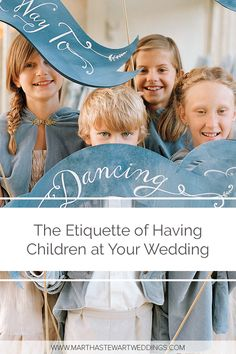 At the ceremony, children can act as ushers, hand out programs, circulate mass books or yarmulkes, distribute exit-toss packets, and more, depending on your specific event. At the reception, kids can contribute by doing things like managing a guest book or passing out favors in a basket or on a tray. #weddingetiquette #kidsatweddings #weddingideas #weddingchecklist | Martha Stewart Weddings - The Etiquette of Having Children at Your Wedding