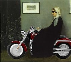 Arrangement in Grey and Black No.1: Biker Babe.....Whistler's Mother Parody