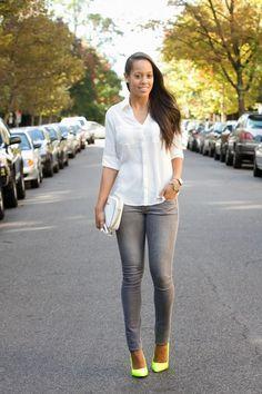 Jasmin daily: Express white portofino shirt + gray skinny jeans + neon pumps