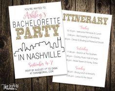 Nashville Bachelorette Party Invitation and Itinerary - NASHVILLE Bachelorette Party - Nashville Skyline Invitation - Wedding New Orleans Bachelorette, Bachelorette Itinerary, Bachelorette Party Themes, Bachelorette Party Invitations, Bachelorette Time, Nashville, Skyline, Printable Invitations, Blog