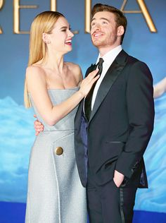 Brits Lily James and Richard Madden touted Disney's Cinderella's overseas premiere in London March 19.