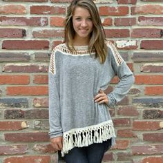 Loose Tassel Top w/ Hollow Collar Cotton Blend Tops Tees - Long Sleeve