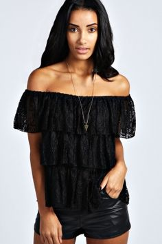 Cheap Black Off-neck Cascading Ruffles Lace Top online - All Products,Sexy Clubwear,Clubwear Tops Cute Blouses, Blouses For Women, Clubwear Tops, Strapless Tops, Womens Sleeveless Tops, Sexy Blouse, Cheap Dresses, Sexy Outfits, Clothes