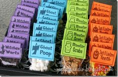 Halloween Treat Bags from mudpiestudio.blogspot.com - Witches Warts = Chocolate Chips Marshmallows = Ghost Poop Cinnamon Toast Crunch cereal = Monster Scabs Jack O Lantern Teeth = Candy Corn