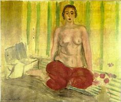 Henri Matisse  Odalisque in Red Pants, 1925.  A Matisse painting stolen from a Venezuelan museum around 10 years ago may have been recovered by police in Miami, according to reports.   The painting depicts a bare-chested woman sitting cross-legged on the floor wearing a pair of scarlet trousers. It was stolen approximately a decade ago from the Caracas Museum of Contemporary Art - formerly known as the Sofia Imber Contemporary Art Museum, or MACCSI.