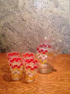 Vintage Retro Jug And 4 Glasses Lemonade Set Kitsch, Lemonade, Retro Vintage, Red And White, Store, Tableware, Ebay, Tent, Dinnerware