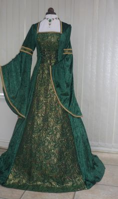 Renaissance Medieval green velvet and metallic gold brocade dres, Dawns Medieval Dresses