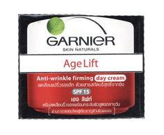 Garnier Age Lift Day Cream SPF 15 by Garnier Thailand. $30.29. Garnier Age Lift Day Cream SPF 15.Skin care during the day, making the skin look smoother. Gradually reduce the depth of wrinkles with pure ginger extract. And protect the skin with UV filter substances SPF 15 in Garnier Age Lift Day Cream SPF 15. Anti Wrinkle Firming Day Cream SPF 15.