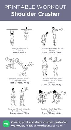 Shoulder Crusher – illustrated exercise plan created by me for personal use and interested individuals. As the title suggests, this workout is focused on the shoulders. Shoulder And Arm Workout, Chest Workout For Men, Easy Daily Workouts, Gym Workout For Beginners, Tuesday Workout, Friday Workout, Workout Log, Gym Workout Tips, Workout Posters
