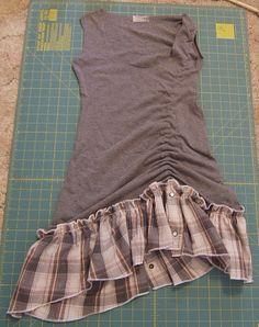 Make a cute DIY Summer Dress out of an Old T-Shirt and a Plaid Button Up Top with a Side Scrunch.