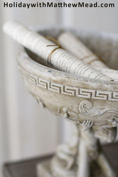Greek key is an ancient pattern that can be found on many types of stoneware urns and planters. It allows you to add some instant history to your home. From FLEA MARKET FINDS. www.HolidaywithMatthewMead.com
