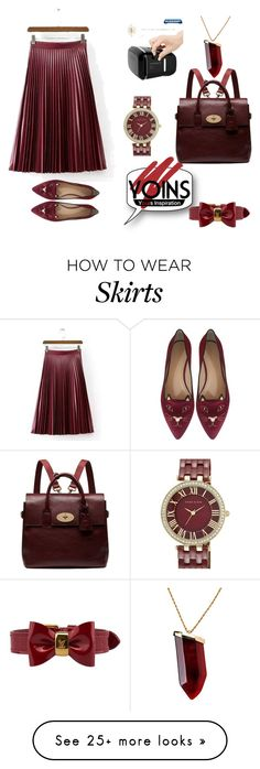 """Burgandy Pleated Skirt in Artificial Leather @yoinscollection"" by minminfashion on Polyvore featuring NARS Cosmetics, Cuero, Charlotte Olympia, Mulberry, Louis Vuitton, Anne Klein, Kenneth Jay Lane, women's clothing, women's fashion and women"