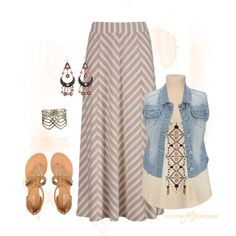 """Oatmeal Chevron Maxi Skirt #2"" by sarah-dee-outfitgenie on Polyvore"