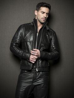 Leather jacket and pants.
