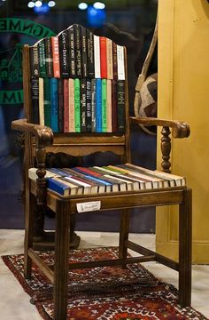 Several new uses for old chairs.... from re-do and re-purpose into benches, to a guiter stand or magazine rack.... check out all these ideas!- tho I couldn't cut up books like this.