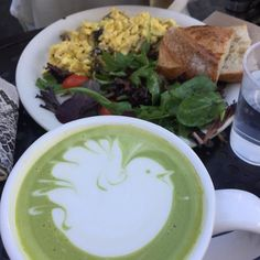 Perfect #lunch with a sweet friend  #eggs #matcha #spinachsalad Yummy!!   #matchalatte #matchagreentea #matchalatte #matchaholic #latteart #lattelover #latte #salad #salads #lunch #lunchtime #lunchdate #lunch #yum #yummylicious #yummyfood #yummylunch #healthybreakfast #healthyfood #healthyeating #healthychoices #nofilter #hunterphoenix