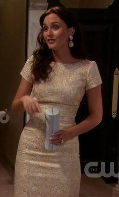 Blair Waldorf. dress beige