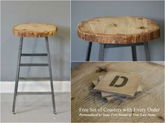 Reclaimed Live Edge Oak Industrial Bar Stool  FREE by DendroCo, $160.00