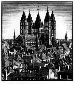 "M. C. Escher- ""Tournai Cathedral""- August 1934, Woodcut."