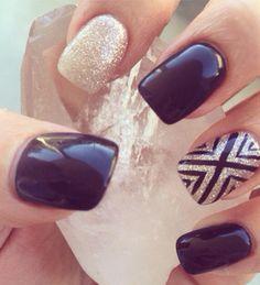 Black gel nails, gold gel nails, nail designs. Square shellac black and gold gel polish. Accent nail design.