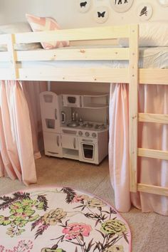 Simple & cheap low Ikea bunk beds turned into a loft bed with play space below. Love the curtains to make it even more… http://itz-my.com