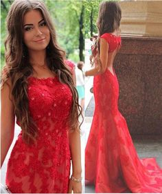 Gorgeous Red Mermaid Style Prom Dress,Prom Dress with Beaded Appliques,Scoop Neckline Prom Dress,Sexy Backless Prom Dress,Floor Length Prom Dress for Girls