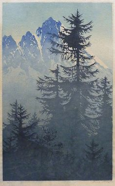 ✨ Oscar Droege (1898-1983) - Mountain Conifers, Colour woodblock, signed lower right in pencil and numbered 12 of 75, block size 241x397mm