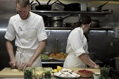 Chefs Preston Madson and Ginger Pierce Madson preparing Thanksgiving dinner in the kitchen at Peels restaurant, New York