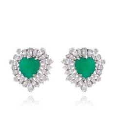 brinco esmeralda com zirconias cristais semijoias finas