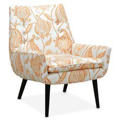 side chairs - mrs godfrey chair in tuileries tangerine Cool Furniture, Modern Furniture, Furniture Design, Furniture Chairs, Recycling Furniture, Caracole Furniture, Orange Furniture, Upholstered Furniture, Modern Chairs