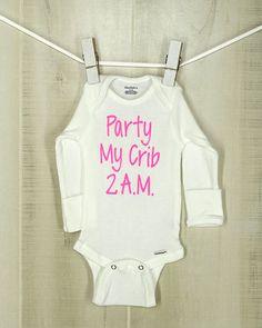 Party My Crib 2 A.M. Onesie Unisex Bodysuit Gender Neutral Shower Gift Party Baby Bodysuit Adorable Baby Bodysuit by OyoPOP