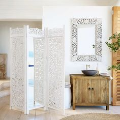Occasional furniture on Maisons du Monde. Take a look at all the furniture and decorative objects on Maisons du Monde. Bad Inspiration, Bathroom Inspiration, Seagrass Rug, Mini Loft, Lotus, Single Sink Bathroom Vanity, Wood Mirror, Bathroom Interior Design, Shabby Chic
