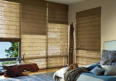 Hunter Douglas Alustra woven textures roman shades bedroom