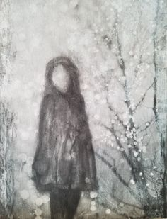Donna's charcoal drawing Girl in cape