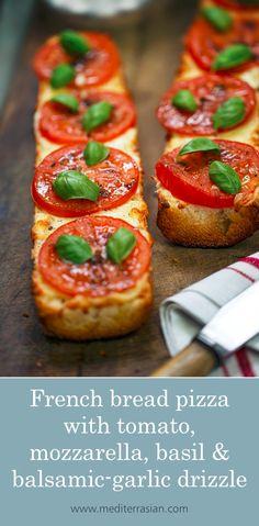 French bread pizza with tomato, mozzarella, basil and balsamic-garlic drizzle Mozzarella, Pizza Recipes, Cooking Recipes, Dinner Recipes, Tomato Bread, French Bread Pizza, Food And Drink, Yummy Food, Favorite Recipes