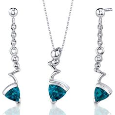 London Blue Topaz Pendant Earrings Set Sterling Silver Rhodium Nickel Finish Trillion Shape 1.75 Carats *** Find out more about the great product at the image link. (This is an affiliate link) #JewelryForWomen