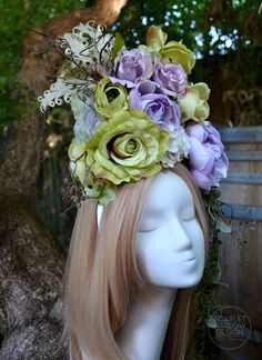 Lilac Floral Headdress - Ready to ship by ScarletHarlow on Etsy