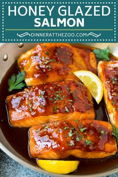 This honey glazed salmon is seared salmon fillets topped in a honey, soy sauce and garlic glaze. A quick and easy dinner option! Salmon Recipe Pan, Honey Glazed Salmon Recipe, Delicious Salmon Recipes, Seared Salmon Recipes, Pan Seared Salmon, Baked Salmon, Salmon With Honey Glaze, Garlic Honey Salmon, Salmon Belly Recipes