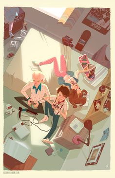 Marty and Doc playing Nintendo. Great Back to the Future piece by Glen Brogan