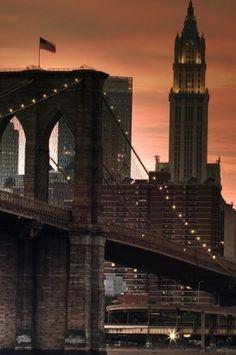 Brooklyn Bridge at sunset.