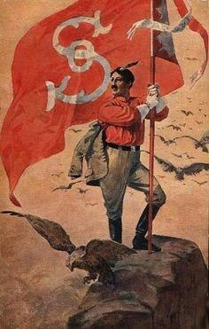 Bandera del movimiento nacionalista checo Sokol en un poster de finales del siglo XIX o comienzos del XX Lead Adventure, My Heritage, Czech Republic, Vintage Posters, European Countries, Retro, Brochures, Arrows, Historia