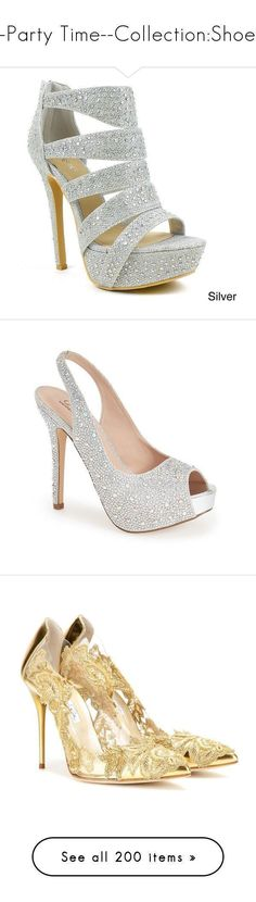 """--Party Time--Collection:Shoes"" by sabristyles22 ❤ liked on Polyvore featuring shoes, pumps, heels, sandals, silver, rhinestone heel pumps, platform pumps, glitter pumps, prom shoes and dress pumps #promshoespumps #platformpumpsglitter"